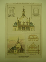 Study for the Town Hall, Milton, MA, 1878, Ware & Van Brunt