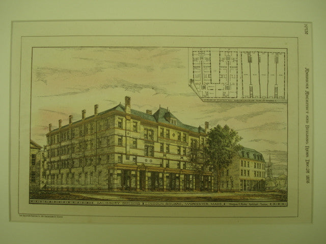 Salisbury Building at Lincoln Square , Worcester, MA, 1878, Stephen C. Earle