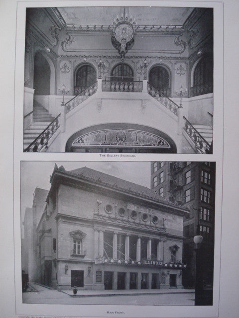 Gallery Staircase and the Main Front of the Illinois Theatre , Chicago, IL, 1901, Wilson & Marchall