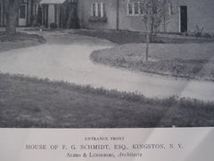 Entrance Front of the House of F.G. Schmidt, Esq., Kingston, NY, 1911, Albro & Lindeberg