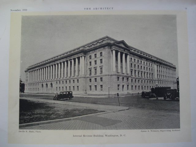 Internal Revenue Building , Washington , DC, 1930, James A. Wetmore