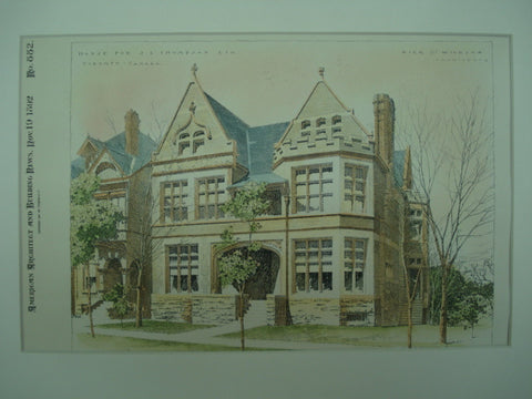 House for J. L. Thompson, Esq., Toronto, CAN, 1892, Dick & Wickson