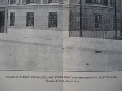 House of Albert Stone, Esq on Bay State Road and Sherborn St., Boston, MA, 1904, Fehmer & Page