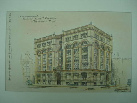 Accepted Design for the National Bank of Commerce , Minneapolis, MN, 1887, H. W. Jones