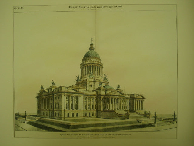Design for the Minnesota State-House , St. Paul, MN, 1895, H. T. E. Wendell & John J. Humphreys