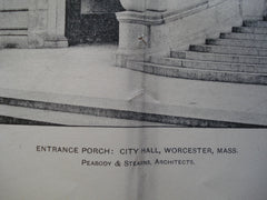 Entrance Porch: City Hall , Worcester, MA, 1903, Peabody & Stearns