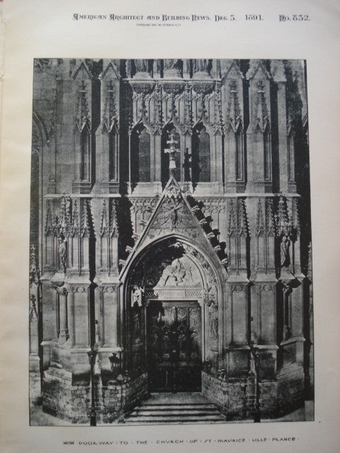 Doorway to the Church of St. Maurice , Lille, France, EUR, 1891, Unknown