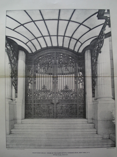 Front-Door Grille: House of the Clark Estate on Riverside Drive , New York, NY, 1901, Ernest Flagg