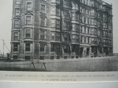 Apartment House on W. Chester Park and Beacon St., Boston, MA, 1891, O.F. Smith