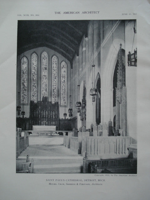 Interior of Saint Paul's Cathedral , Detroit, MI, 1911, Cram, Goodhue & Ferguson