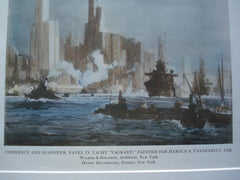 Commerce and Seapower, Panel in Yacht Vagrant, Painted for Harold S. Vanderbilt, Esq., 1914, Walker & Gillette, Architects & Henry Reuterdahl, Painter