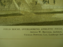 Field House overlooking the Athletic Field at Beaver Park , Albany, NY, 1914, Arnold W. Brunner