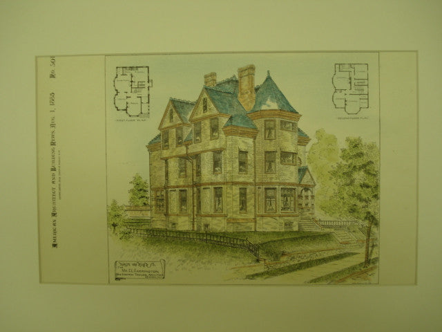 House on High St. for Mr. C. L. Carrington, Newark, NJ, 1885, Van Campen Taylor