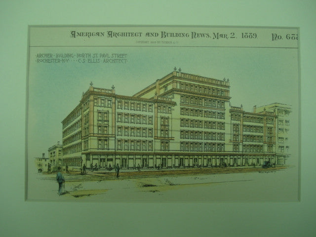 Archer Building on North St. Paul Street , Rochester, NY, 1889, C. S. Ellis