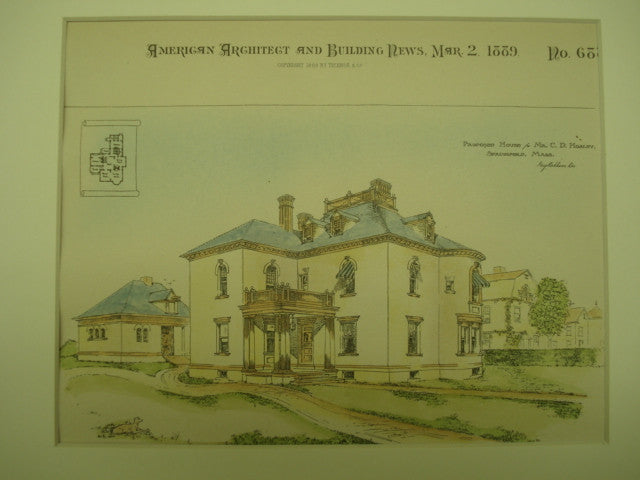Proposed House for Mr. C. D. Hosley , Springfield, MA, 1889, Unknown