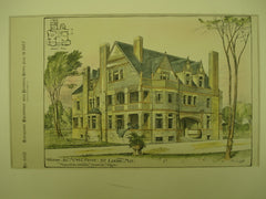 House for Mr. H. C. Pierce , St. Louis, MO, 1887, Messrs. Fuller & Wheeler