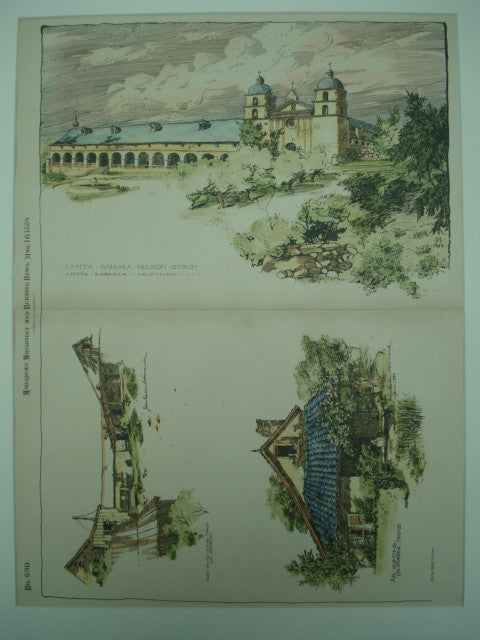 Santa Barbara Mission Church. Also includes two sketches of old California homes, Santa Barbara, CA, 1889, Unknown