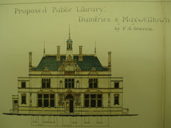 Proposed Public Library in Dumfries & Maxwelltown, UK, 1900, F. G. Grierson