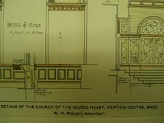 Details of the Church of the Sacred Heart , Newton Centre, MA, 1900, W. H. McGinty