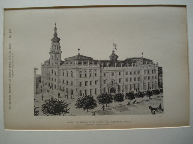 Project for Addition to the Old City Hall , Funfkirchen, Hungary, EUR, 1890, Herr Rudolf Klotz