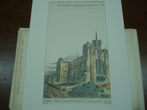 Design for New Cathedral , Victoria, British Columbia, CAN, 1893, H. Wilson