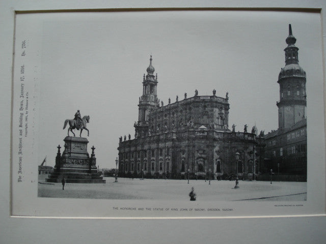 Hofkirche and the Statue of King John of Saxony , Dresden, Saxony, EUR, 1891, Unknown