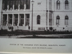 Station of the Hungarian State Railroad , Buda-Pesth, Hungary, EUR, 1890, Julius von Rochlitz