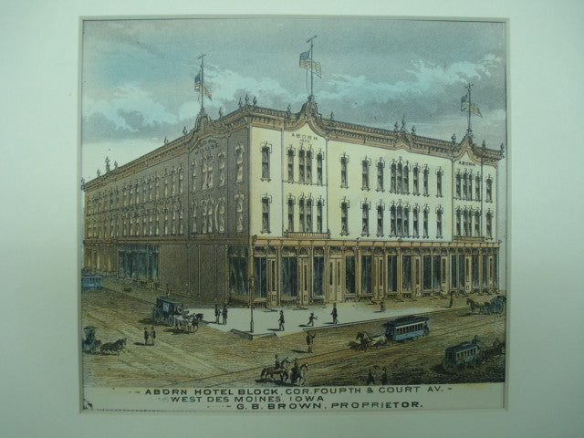Adorn Hotel Block on the Corner of Fourth & Court Ave., West Des Moines, IA, 1875, Unknown