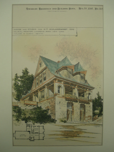 House and Studio for H. T. Schladermundt , Lawrence Park, NY, 1897, Walker & Morris