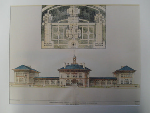 Competitive Design for the State of Rhode Island Sanatorium for Consumptives, Burrillville, RI, 1903, Calvin Kiessling
