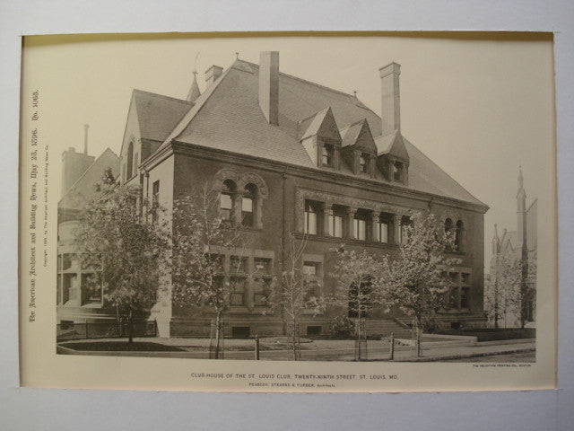 Club-House of the St. Louis Club on Twenty-Ninth Street , St. Louis, MO, 1896, Peabody, Stearns & Furber