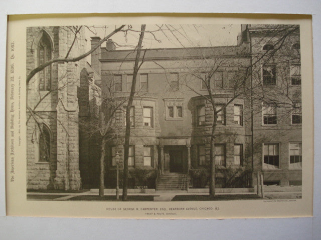 House of George B. Carpenter, Esq. on Dearborn Avenue , Chicago, IL, 1896, Treat & Foltz