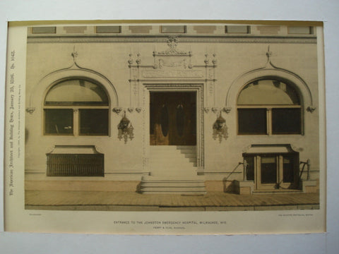 Entrance to the Johnston Emergency Hospital , Milwaukee, WI, 1896, Ferry & Clas
