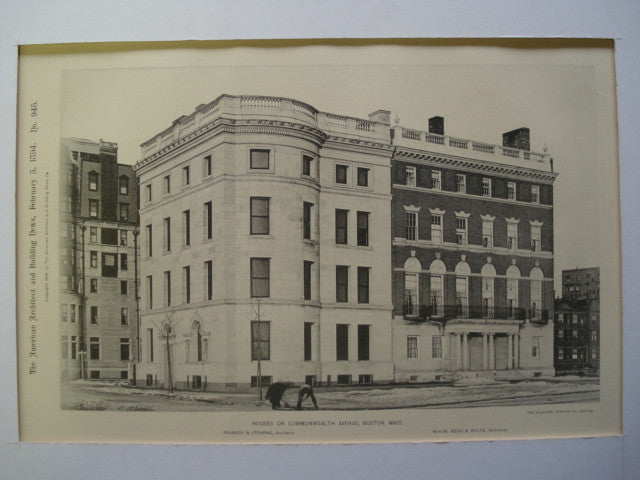 Houses on Commonwealth Avenue , Boston, MA, 1894, Peabody and Stearns & McKim, Mead and White