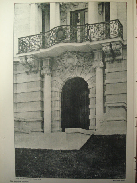 Entrance to House of Charles H. Spencer, Esq. , St. Louis, MO, 1901, Barnett, Haynes & Barnett