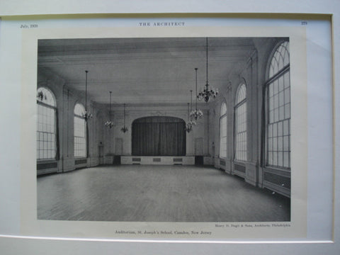 Auditorium in St. Joseph's School , Camden, NJ, 1930, Henry D. Dagit & Sons