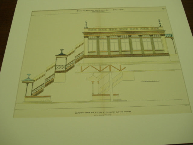 Design for Stations of the Boston Elevated Railroad, Boston, MA, 1898, C.H. Blackall