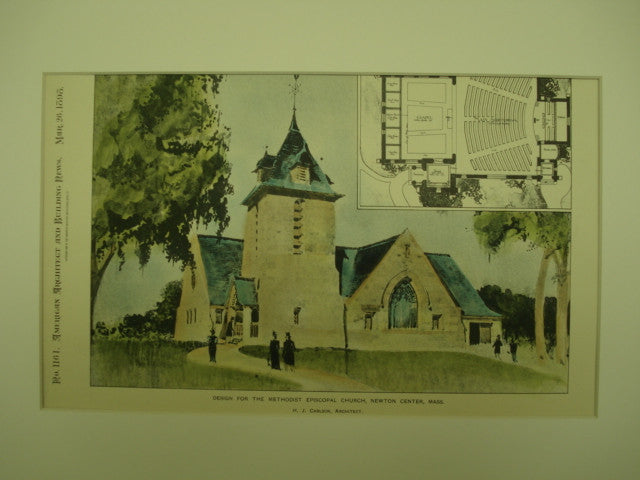Methodist Episcopal Church , Newton Center, MA, 1898, H. J. Carlson