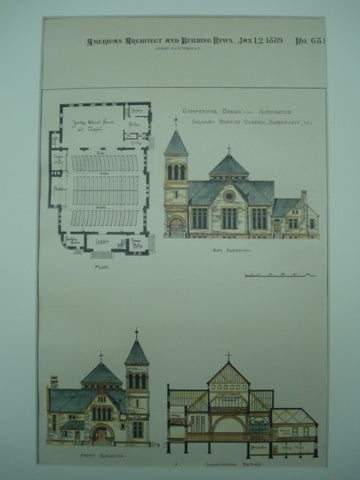Competitive Design for the Alternative Calvary Baptist Church , Davenport, IA, 1889, Wm. Cowe