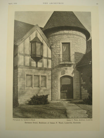 Entrance Detail of the Residence of Ossain P. Ward , Louisville, KY, 1930, Ossain P. Ward