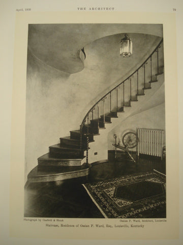 Staircase of the Residence of Ossain P. Ward , Louisville, KY, 1930, Ossain P. Ward