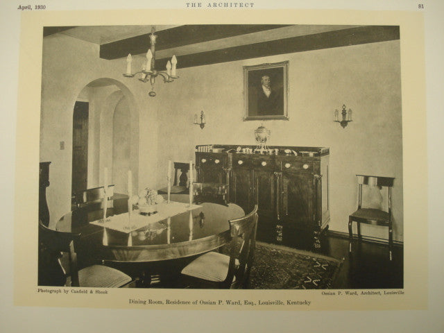 Dining Room in the Residence of Ossain P. Ward , Louisville, KY, 1930, Ossain P. Ward