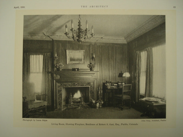 Living Room in the Residence of Robert S. Gast, Esq., Pubelo, CO, 1930, John Gray