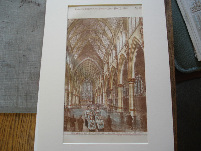 Interior of the Church of the English Martyrs, Streatham, S.W. London, UK, 1894, A.E. Purdie