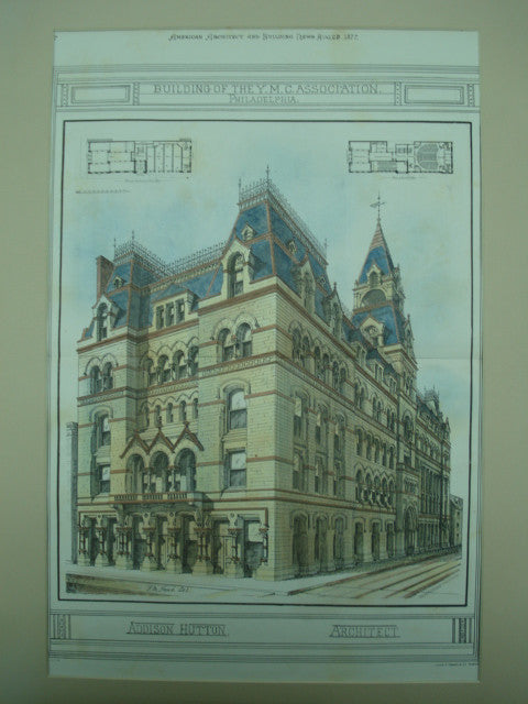 Building of the Y.M.C.A, Philadelphia, PA, 1877, Addison Hutton