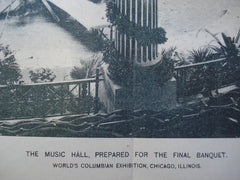 Music Hall, prepared for the final banquet for the World's Columbian Exhibition , Chicago, IL, 1893, Unknown