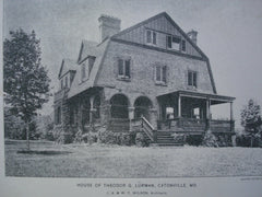 House of Theodor G. Lurman , Catonville, MD, 1896, J.A. & W.T. Wilson