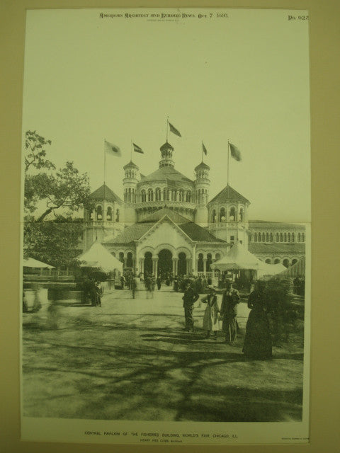 Central Pavilion of the Fisheries Building at the World's Fair , Chicago, IL, 1893, Henry Ives Cobb