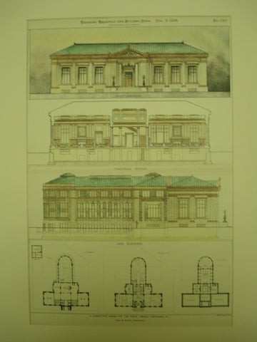 Competitive Design for Public Library , Pawtucket, RI, 1899, York & Sawyer