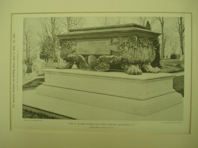 Tomb of Benjamin Warder at the Rock Creek Cemetery , Washington, DC, 1898, McKim, Mead, & White